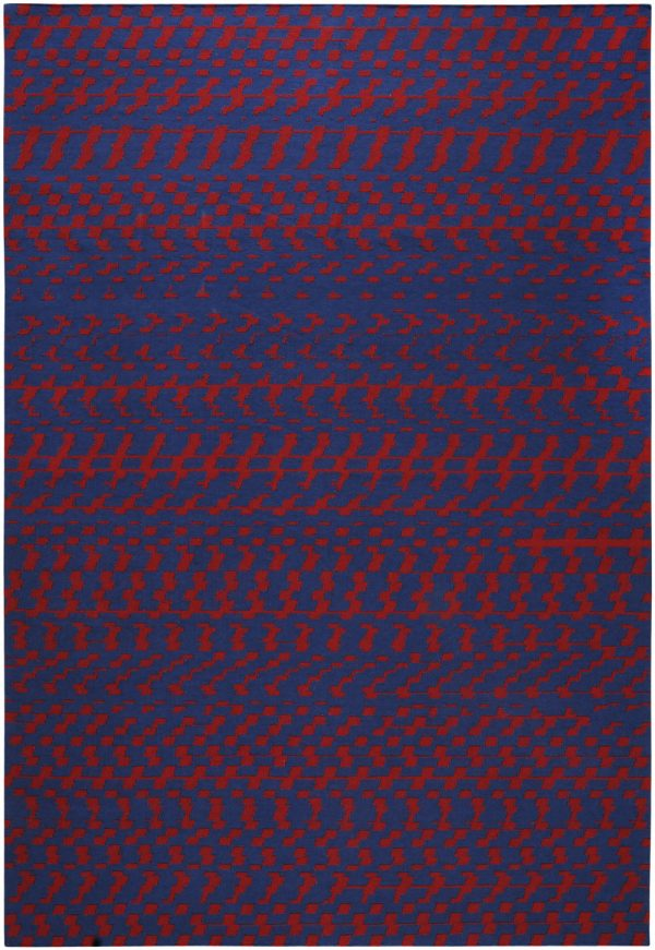 I+I_Fuoritempo_blue-red, wool tappeto carpet rug handwoven design in Milan Italy India
