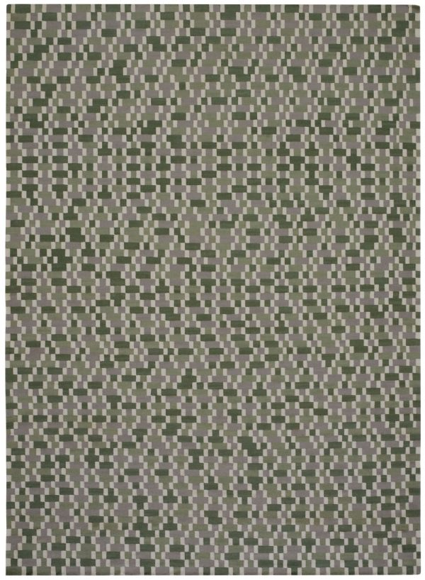 I+I_Tempo Cinque_green, wool tappeto carpet rug handwoven design in Milan Italy India