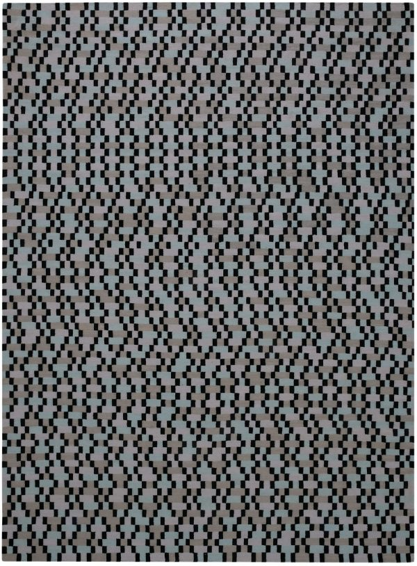 I+I_Tempo Cinque_turquoise, wool tappeto carpet rug handwoven design in Milan Italy India