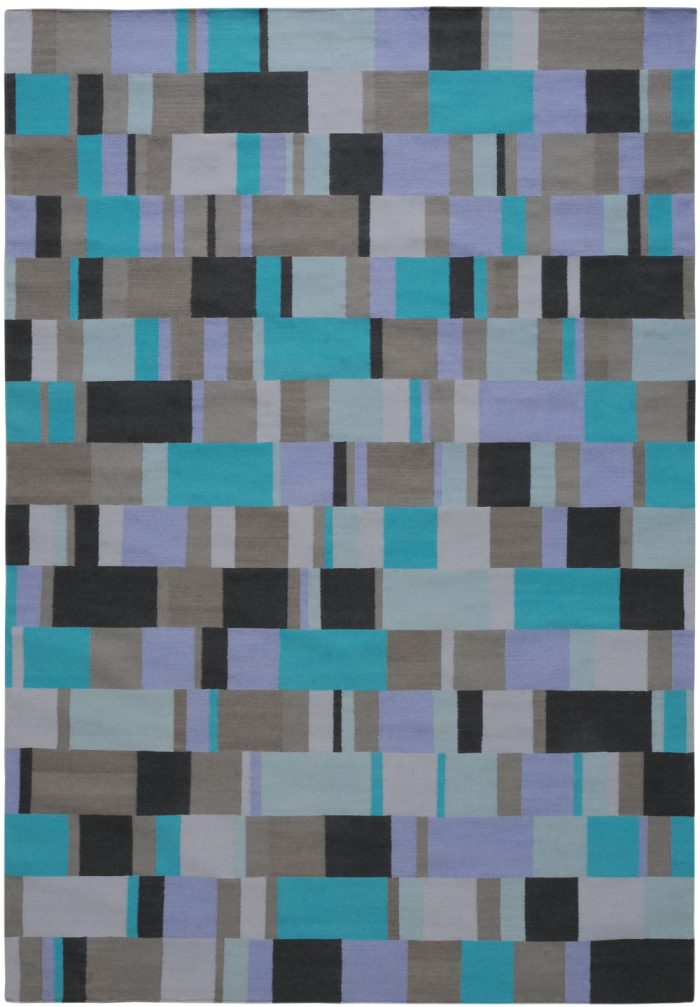 I+I_Tempo Sette_blue, wool tappeto carpet rug handwoven design in Milan Italy India