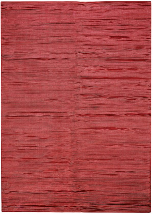 I+I_Wavelenght_red-white, wool tappeto carpet rug handwoven design in Milan Italy India